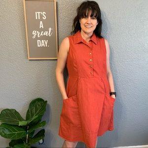 Retro Burnt Orange Summer Dress w/Pockets